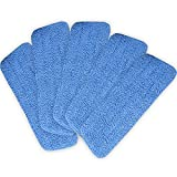 MasterPanel - Lot of 5 Blue Microfiber Mop Pads Head Wet Dry Mops Refill For 15'' Flat Mop Base #TP3316