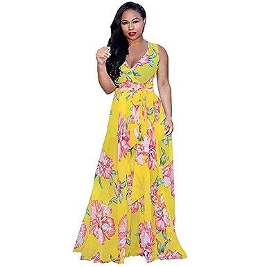 be5ccdcf6 HCFKJ Faldas Mujer Elegante Gasa con Cuello En V Estampado Floral ...