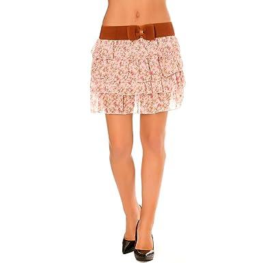 96d736321a Miss Wear Line - Jupe à Volant, imprimés Fleurie Rose avec Une Large  Ceinture