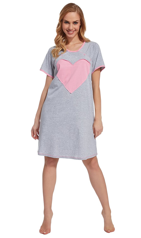 Divita 2in1 Stillnachthemd Umstandsnachthemd Umstandsmode Stillmode Nachthemd Herz