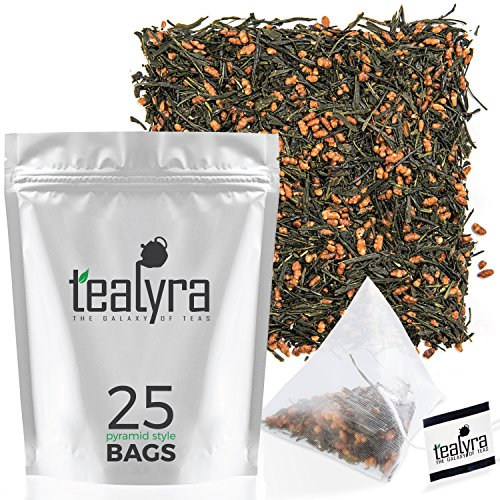 (Tealyra - Gen Mai Cha Supreme Japanese - 25 Tea Bags - Organically Grown - Genmaicha Green Tea with Brown Roasted Rice - Caffeine Level Low - Loose Leaf - Pyramids Style Sachets)
