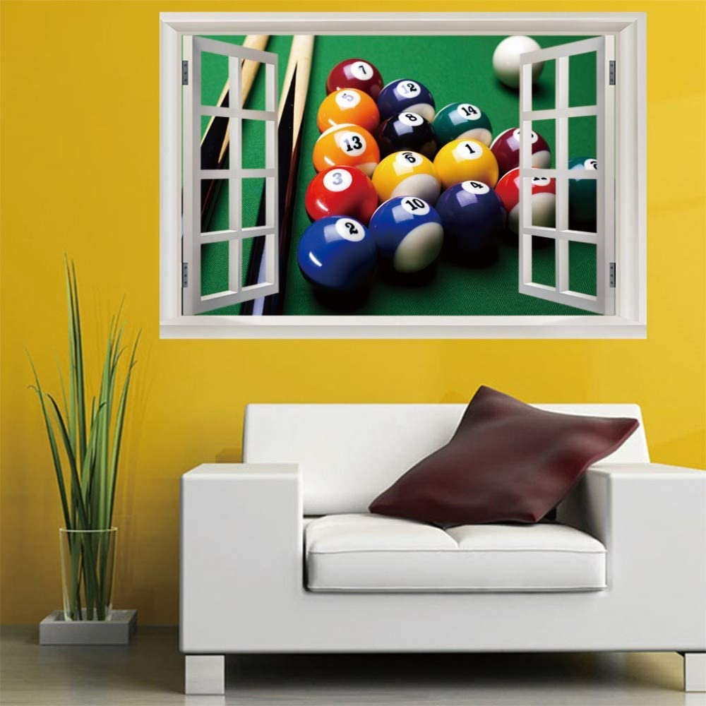 WYLYSD Billar 3D ventana falsa decoración del hogar arte ventana falsa nueva pared pegatinas desmontables pegatinas de pared decoración del hogar espejo (50X70cm): Amazon.es: Bebé
