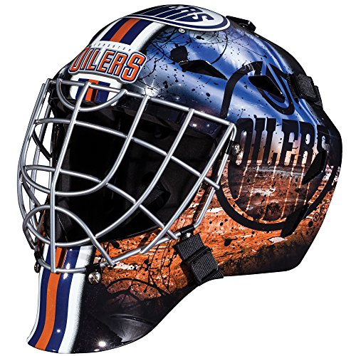 Franklin Sports Edmonton Oilers Goalie Mask - Team Graphic Goalie Face Mask - GFM1500 Only for Ball & Street - NHL Official Licensed Product