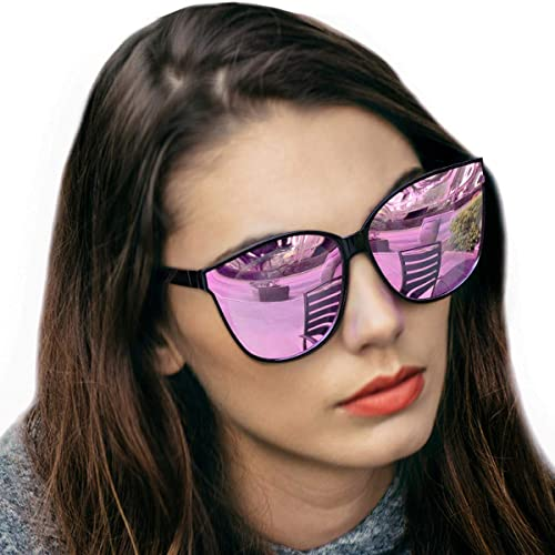 3d3200a168 Amazon.com  LVIOE Cat Eyes Mirrored Sunglasses for Women