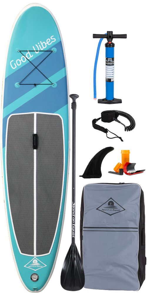 Stand On Liquid Good Vibes Air Inflatable 11 Foot All Around Stand Up Paddle Board iSUP Package | Includes Adjustable Paddle, Dual Action Pump, Carrying Bag, Leash