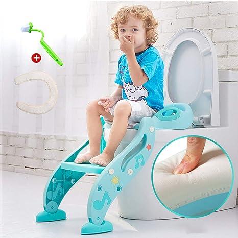 Asiento wc escalera Para niños,Asiento para wc,(3 en 1) Entrenador para niños pequeños Manijas Almohadillas antideslizantes Seguro Cómodo-Azul: Amazon.es: Bebé