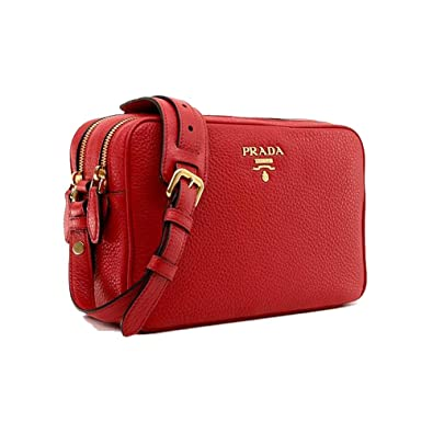 fbfbf138b1e0 Prada Women's Red Vitello Phenix Leather Crossbody Handbag 1BH079: Handbags:  Amazon.com