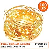 Fairy Lights 100 Micro LED Indoor Outdoor ChristmasFairy Lights String Lights 10m / 33 Ft Copper Cable - Mains Operated LED Fairy Lights - Ideal for Christmas Tree Festive Party Decora