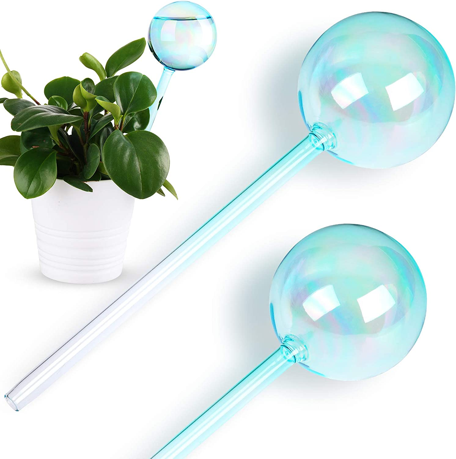 Set of 2 Hand Blown Glass Watering Sphere Potted Plant Feeder Spike Bulb Globe