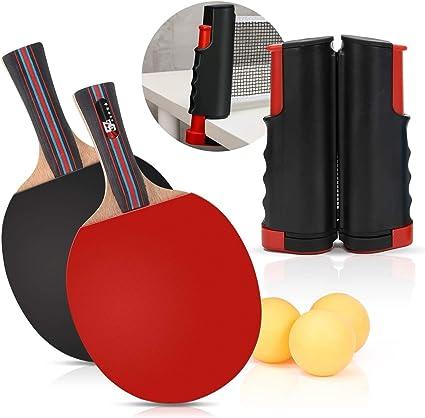 Juego de ping-pong, incluye red de ping pong para cualquier mesa, 2 palas de ping