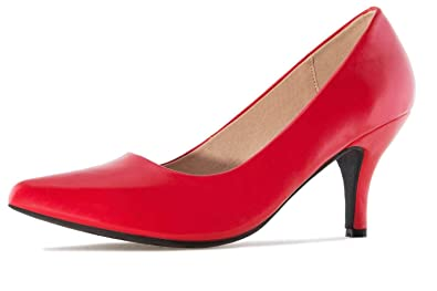 Andres Machado Pumps in Übergrößen Rot AM5286 Soft Rojo große Damenschuhe