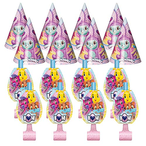 Unique Industries Hatchimals Birthday Party Favors Pack for 8 Guests Including Kids Hats and Blowouts