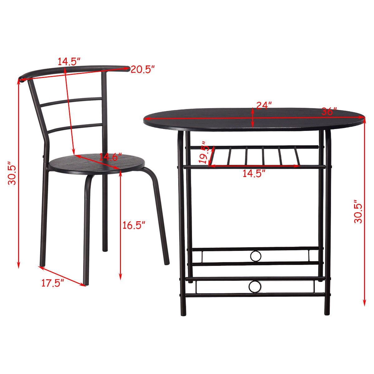 Giantex 3 PCS Dining Table Set w/1 Table and 2 Chairs Home Restaurant Breakfast Bistro Pub Kitchen Dining Room Furniture (Black) by Giantex (Image #5)
