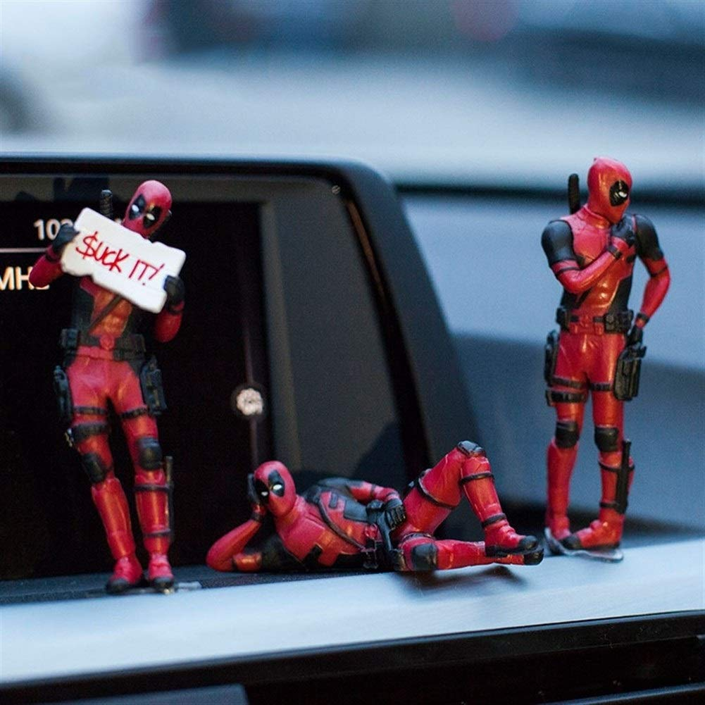 Ornements De Voiture Ornements Voiture Deadpool Personnalit/é Daction Ornement De Voiture Figure Sitting Mod/èle Anime Mini Doll D/écoration De Voiture Accessoires De Voiture Color Name : 7