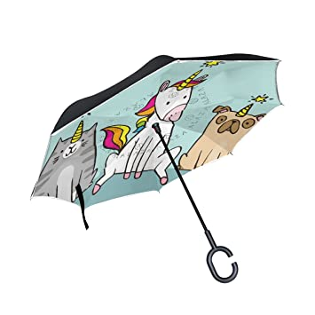MAILIM - Paraguas Reversible de Unicornio con Dibujos Animados para Perro, con Paraguas invertido,