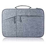 Megoo 13-14Inch Water Resistant Laptop Case Sleeve Bag with Handle and Pocket for Microsoft Surface Laptop/Book/Book 2 13.5',Macbook Air/Pro 13' 13.3' 14' Tablet Laptop Waterproof Carrying Case (Gray)