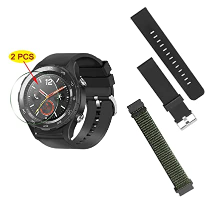 2 Pack Watch Bands Compatible with Huawei Watch 2 Pro,Sonku 22mm Watch Straps Breathable Silicone&Nylon Replacement Sport Loop Bands,Black and ...