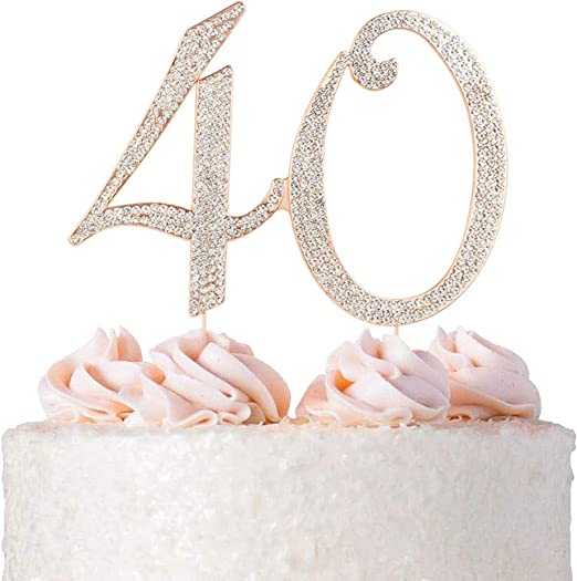 ROSE GOLD GLITTER NUMBER CENTREPIECE STAND BIRTHDAY ANNIVERSARY PARTY DECORATION