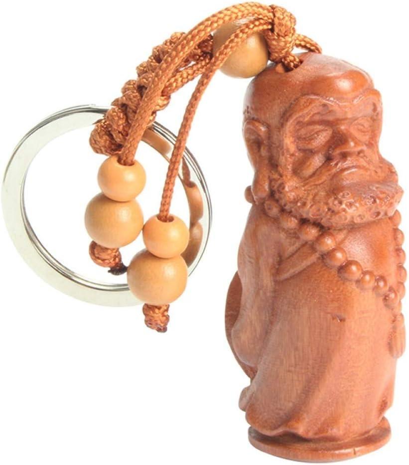 VYZSD P/êche Bois Produits Mini Bodhidharma Porte-cl/és Bouddhiste G/éomantique Fournitures Porte-cl/és De Voiture Pendentif Porte-cl/és