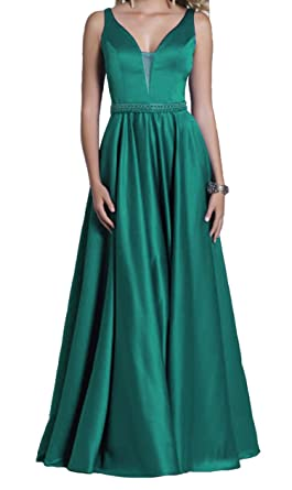 AdelleDress Double V Neck Long Prom Dresses A Line Satin Formal Evening Gowns For Women 2018