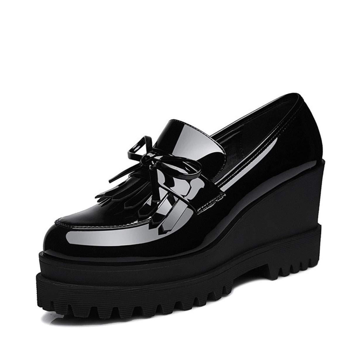 HBDLH Damenschuhe Frühling Damenschuhe Steigung 100 Heels Einzelne Schuhe Freizeit Dicke Sohle Koreanischen Version 100 Steigung Sätze b29464