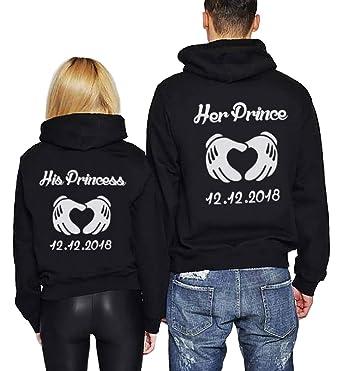 Pärchen Pullover Set Prince Princess Für Paar Kapuzenpullis Couple Hoodie  Geschenk Idee Schwarz Weiß 2 Stücke 9eb0425bcb