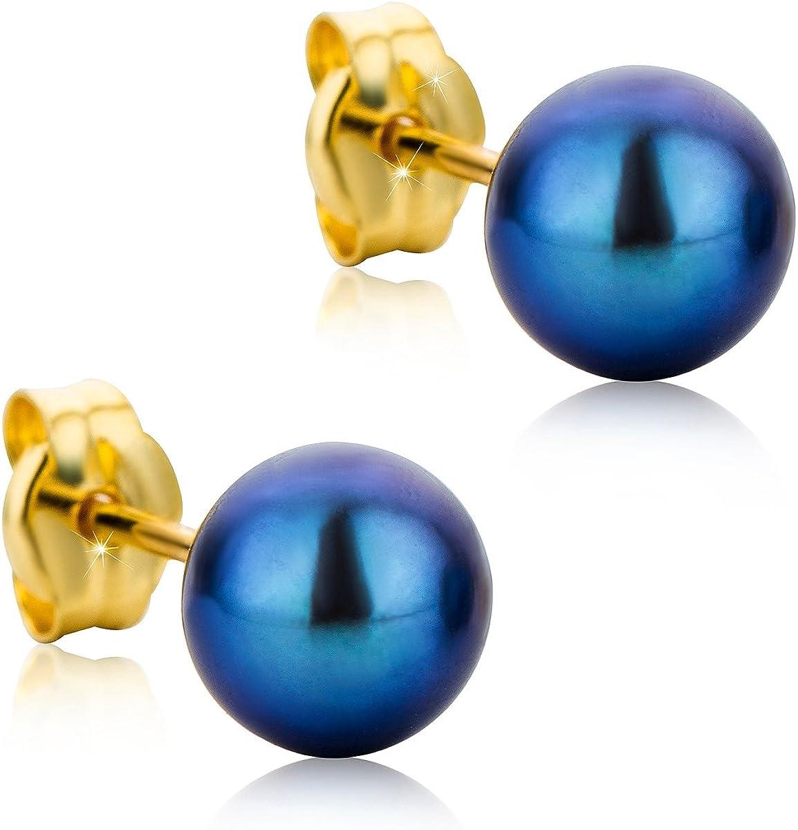 Orovi pendientes de mujer presión Perlas grises 6mm en oro amarillo 18 kilates ley 750