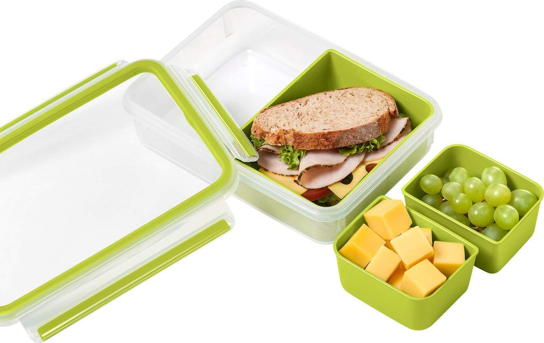 518102 Transparent//Gr/ün Clip und Go Volumen: 0,55 Liter Mit 2 praktischen Eins/ätzen und Deckel Emsa Lunch und Snackbox