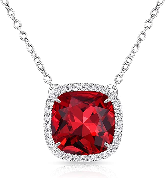 Girls Rhodium-Plated 14k White Gold Imitation Pink Tourmaline October Birthstone Pendant Necklace 14