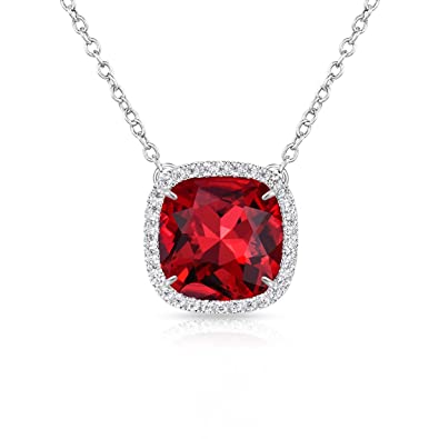 f7135df95 Alantyer Birthstone Necklace Made with Square Swarovski Crystal for Women  and Girls,Garnet (January