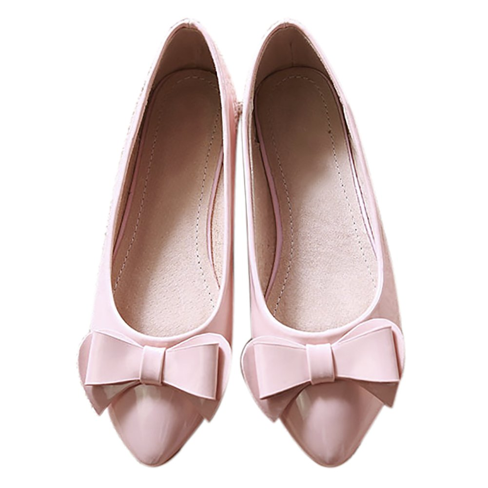 QZUnique Women's Pointed Toe PU Leather Ballet Slip On Boat Bowknot Flat Shoes B0757NQ4WP 7.5 B(M) US|Pink