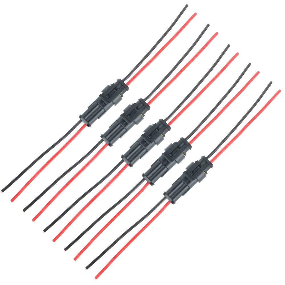 18 AWG Marine TOOHUI 5 juegos 3 Pin Way Car AMP Conector el/éctrico con Conector del cable del cable Mujer Hombre Impermeable Autom/óvil