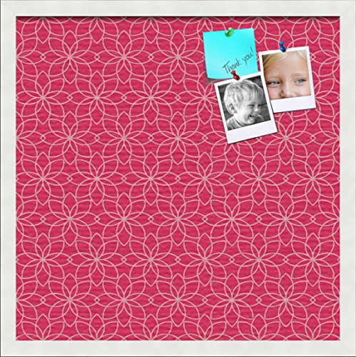 PinPix ArtToFrames 20x20 Inch Custom Cork Bulletin Board. This Floral Design Hot Pink Pin Board Has a Fabric Style Canvas Finish, Framed in Satin White (PinPix-550-20x20_FRBW26074)