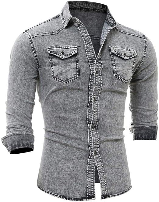 Cvbndfe Camisa de Vestir para Hombre Camisa de Mezclilla ...