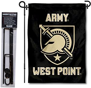 Army West Point Garden Flag and USA Flag Stand Pole Holder Set