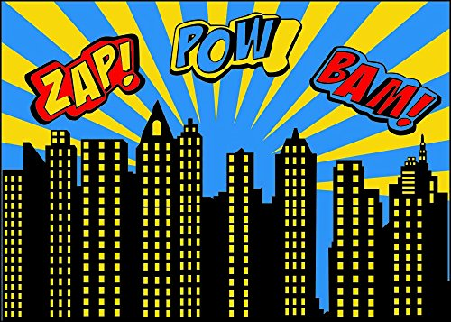 Qian Superhero Backdrops Vinyl Photo Backgrounds 7x5 Photography Birthday Party (Super Hero Decorations)