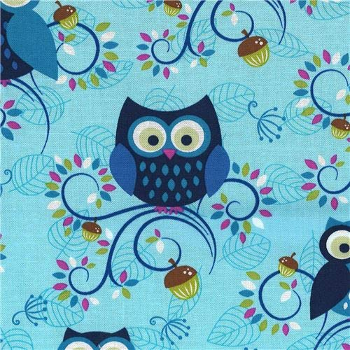 Light Blue Michael Miller Fabric owl Bird Animal Little Happy Hooters (per 0.5 Yard Unit)