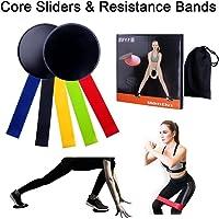 EUCHUDAO Bandes de résistance (lot de 5) Bandes d'exercice et glisse Disques curseurs de Core (lot de 2) pour entraînement/fitness/stretch/Yoga/Pilates
