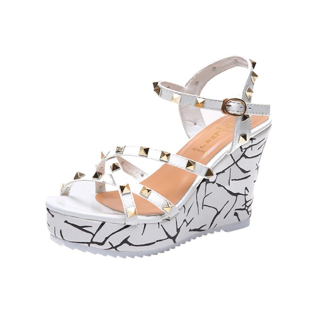 Sandales GongzhuMM ?Sandales Peep Compensées Femme été Sandales Talon Compensé Chaussures Compensées Tongs d été Casual Peep Toe Platform Wedges Sexy Blanc 2ccf9c4 - shopssong.space