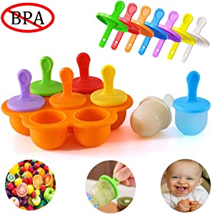 Popsicle Molds Reusable Ice Pop Molds Kids Ice Cream Tray Holder Lolly Pops Seven-Hole Baby Food Grade Supplement Box Multiple Colors Orange