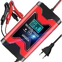Topersun - Cargador de batería para coche, 12 V/6 A, inteligente, cargador multiprotección de carga con pantalla LCD para coche, moto, ATV, barco, caravana