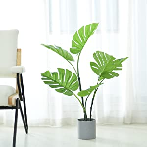 Hejdeo 7.5'' Artifical Monstera Deliciosa Potted Plant, 3.6Feet Tall, Indoor Outdoor House Garden Office Modern Decor (Grey)