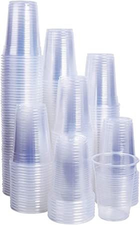 STRONG WHITE//CLEAR PLASTIC 7oz DISPOSABLE CUPS VENDOR DRINKS PARTY OFFICE HOME