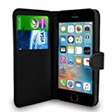 Black Leather Flip Wallet Slim Case Cover Pouch With Card Holder For Apple iPhone SE 5 / 5S and Screen Protector With Polishing Cloth And Stylus Pen
