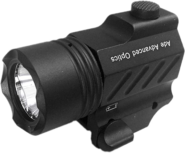 Ade Advanced Optics PL200S-A-1 Ultra Compact Tactical Strobe Flashlight 400 Lm Pistol Handgun Torch light with Strobe Mode for Hiking, Camping, Hunting