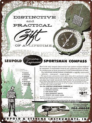 Yilooom 1954 Leupold & Stevens Sportsman Compass Metal Sign Repro 12