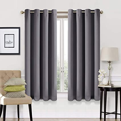 EASELAND 99% Blackout Curtains 2 Panels Set Room Cooling Darkening Drapes  Thermal Insulated Solid Grommets Window Treatment Pair for Bedroom,  Nursery, ...