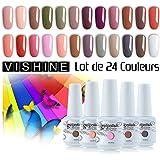 Vishine 24 Colors Gift Set Gel Nail Polish Kit Soak Off UV LED Nail Gel Polishes for Nail Art 8 ML/PC Pack of 24 Pretty Colors Series Kit