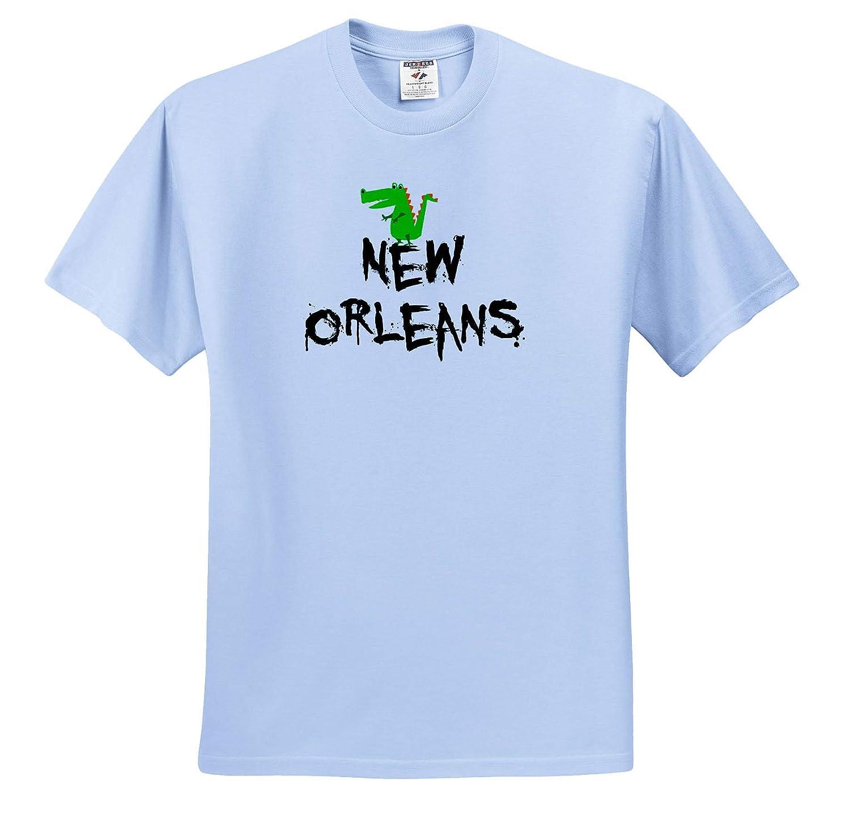 3dRose All Smiles Art Adult T-Shirt XL Travel Funny Cute New Orleans Alligator Cartoon ts/_315982