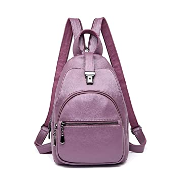 Amazon.com: Small Leather Backpacks For Girls Female Travel Shoulder Bag Mochilas Rucksacks For Girl Ladies Bagpack Small purple backpacks: Reanyst